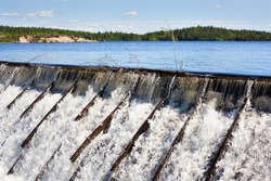 Dam with wooden needle in Russia