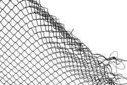 damage wire mesh on white background. Mesh netting with hole isolated on white background.