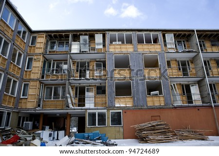 Damaged apartment on a sunny day