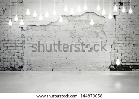 damaged brick wall with bulbs