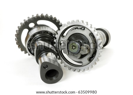 Damaged camshaft gears from a blown motocross motorcycle racing engine