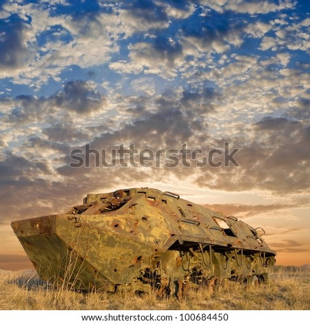 damaged carrier in a steppe