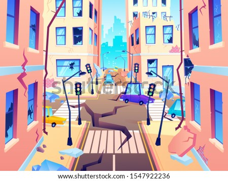 Damaged city street. Earthquake damage, cataclysm damages road destruction and destroyed urban crossroad. Apocalypse town, war disaster or car destroy earthquake. World end cartoon  illustration