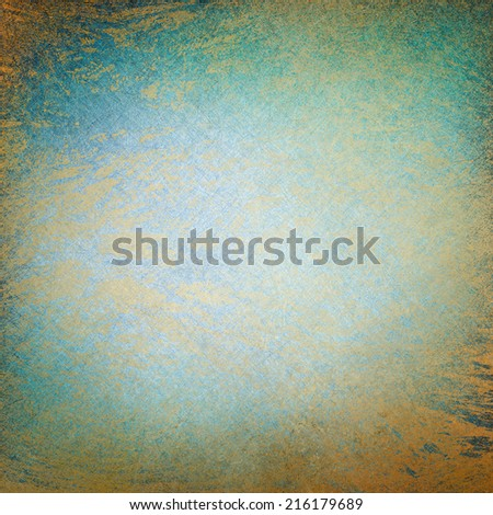 damaged elegant gold background texture paper, faint rustic grunge texture paint design, messy old distressed blue gold wall paint
