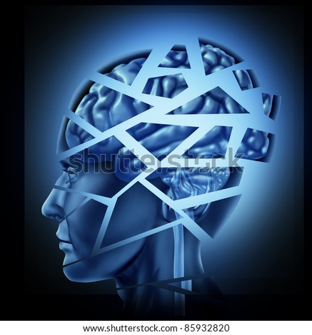 Damaged human brain injury and neurological disorder represented by a man's head and mind broken in pieces to symbolize a severe medical mental trauma and cognitive illness on black background. - stock photo