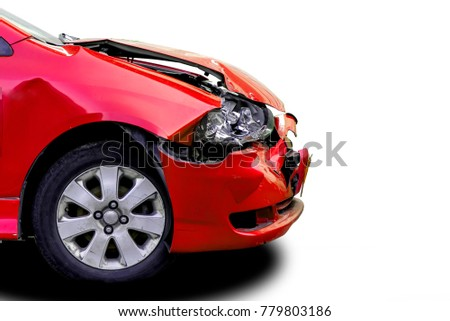 damaged red car