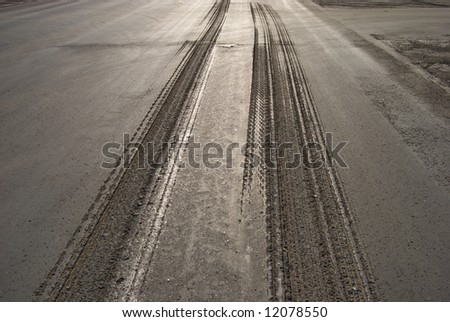 stock photo : Damaged road or street ready for reparation