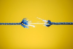 Damaged rope - tension, stress and risk concept