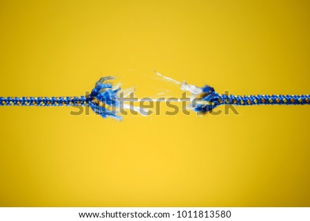 Damaged rope - tension, stress and risk concept Foto d'archivio ©