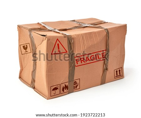 Damaged shipping box on white background Photo stock ©
