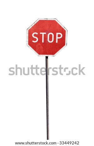 Damaged stop sign, isolated on the white background