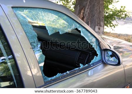 damaged window of a car