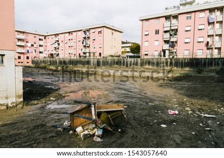 Damages made by hevy flooding in liguria