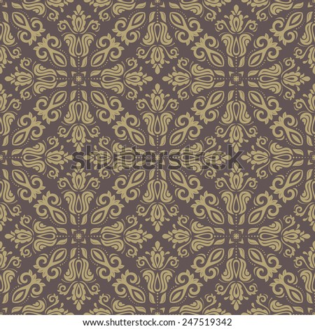Damask  brown floral pattern with arabesque and oriental golden elements. Seamless abstract traditional ornament for wallpapers and background