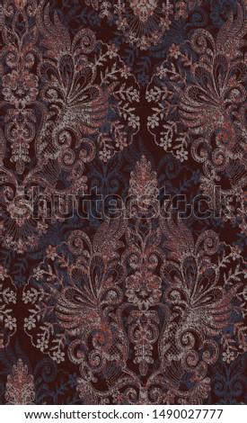 damask design fabric retro pattern