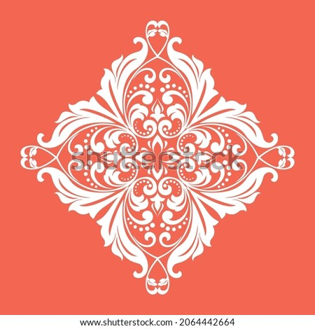 Damask graphic ornament. Floral design element. Pink and white pattern