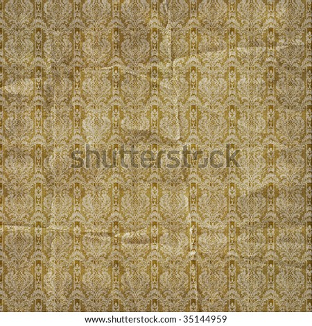 Damask print background in gold with grunge texture.