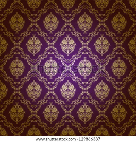 Damask seamless floral pattern. Gold flowers on purple background.