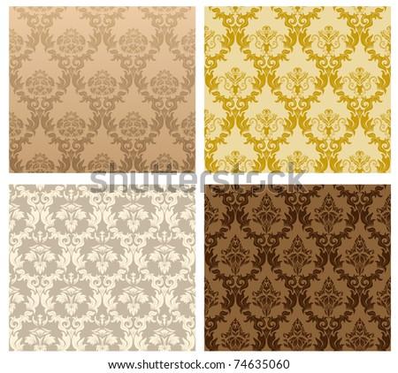 Damask seamless pattern set for design use