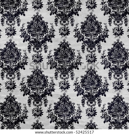 damask wallpaper with creases in gray and black