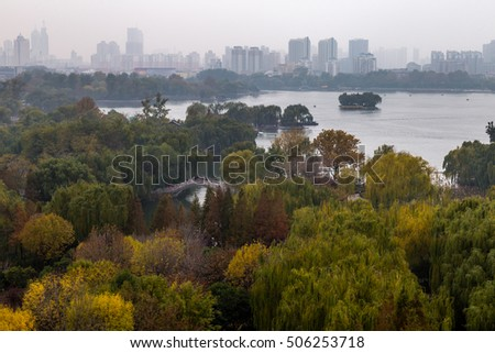 Daming Lake seen from the top of Chaoran Tower in Autumn, Jinan, China #506253718