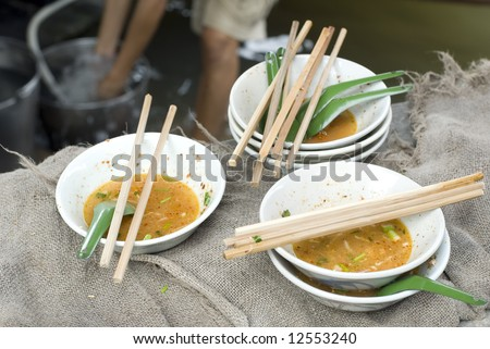 Damnoen Saduak Floating Market Food Stall dishes, Bangkok, Thailand