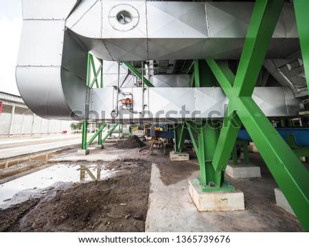 Damper of air inlet of boiler in biomass power plant. Stockfoto ©