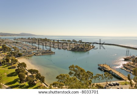 Dana point Harbor and Jetty taken from the hills above.