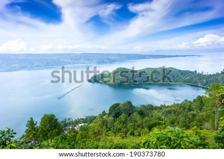 danau toba lake scenery from highland