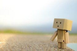 Danboard is sad in the rainy atmosphere.