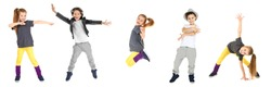 Dance concept. Collage of little children on white background