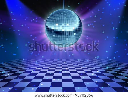 Dance floor disco night with a mirror ball symbol of fun and dancing party in a nightclub or dance club with glowing stage lights and wall reflections and checkered floor.