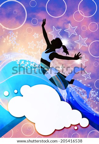 Dance, hip-hop or fitness invitation advert background with empty space