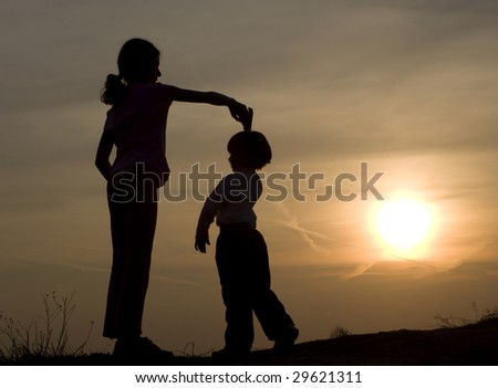 dance in the sunset - silhouette