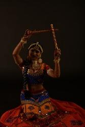 Dance poses of western India folk dance Garba performed during festival Navaratri Dussehra to celebrate the festival