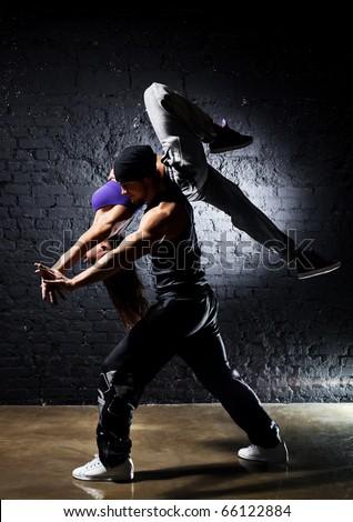 Dancer couple. Contrast colors effect.