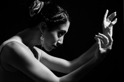 Dancer hands - Artistic portrait of young dancer woman in black and white