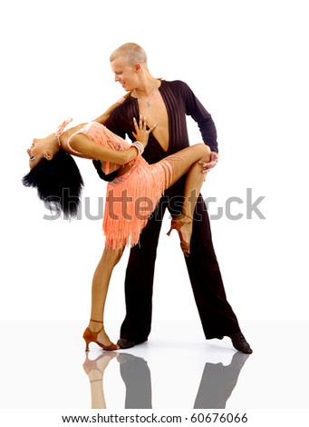 dancer in action isolated on white - stock photo