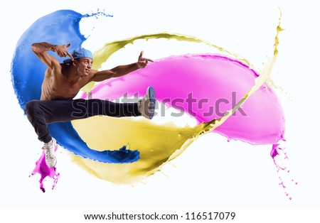 Dancer jumping on the background color splashes