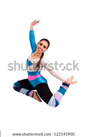 Dancer posing against a white background