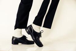 Dancer shoes close up. Dancer performing breakdance moves