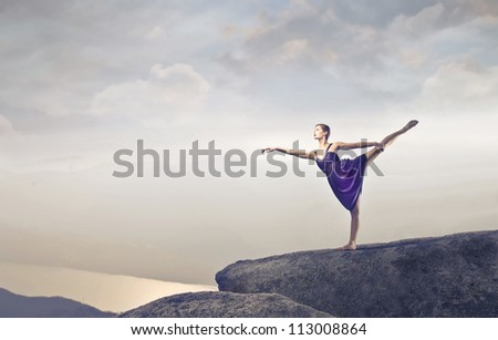 Dancer stepping on a cliff