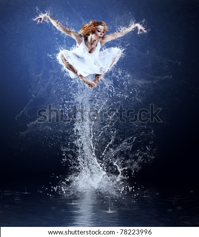 Dancers jump from water with splashes and drops