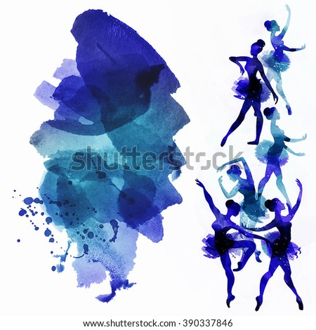 Dancing Ballerina in blue .Watercolor illustration