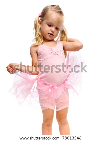 dancing ballet young girl isolated on white
