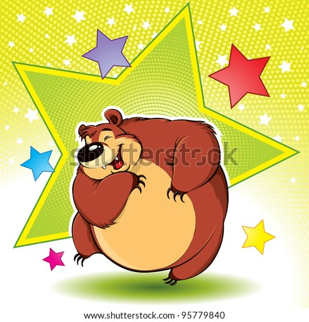 Dancing Bear: funny cool dancing bear, disco style, cartoon character
