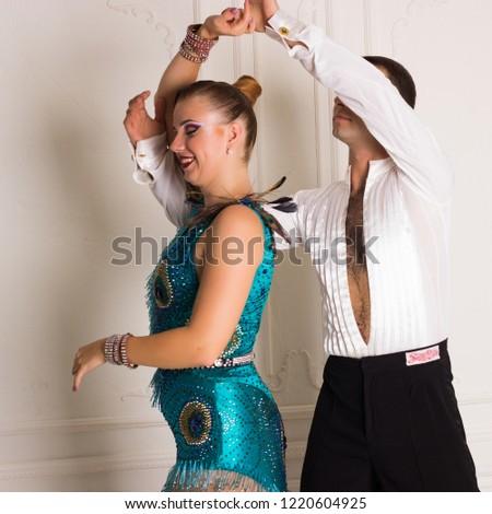 Dancing beautiful couple, indoor #1220604925