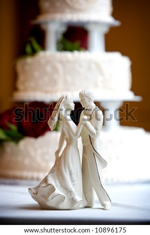 stock photo dancing bride and groom wedding cake decoration