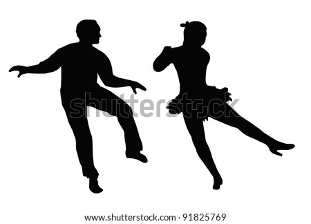 Dancing Couple Silhouette Synchronized Steps Side Kick - stock photo
