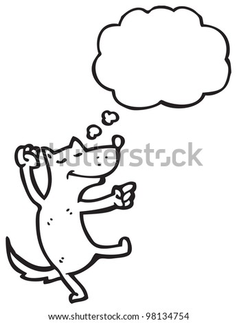 dancing dog with thought bubble